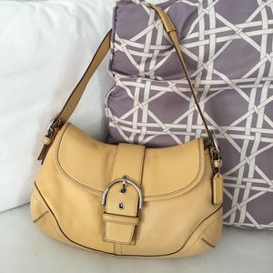 Auth Coach Soho Hampton Yellow Leather Hobo